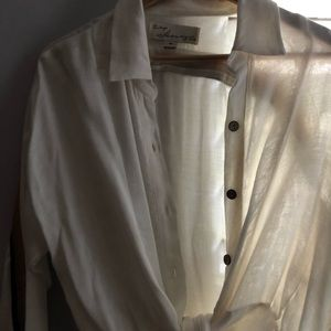 White button up with tie bottom